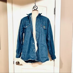 Vtg MONROE COUNTRY Chambray Buttoned Long Sleeve